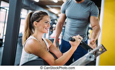 beau, entraîneur, femme, personnel, jeune, exercices