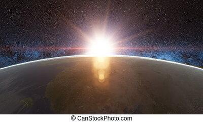 beau, espace, terre planète, levers de soleil, vue