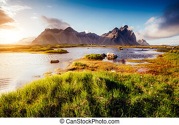 beau, europe, collines, stokksnes, vestrahorn, islande, ...