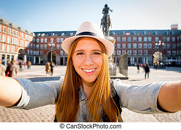 beau, europe, image, femme, touriste, visiter, étudiants, prendre, échange, jeune, fetes, selfie