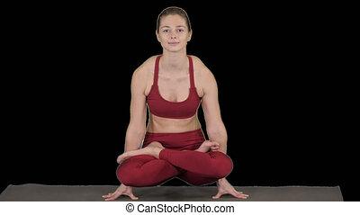 beau, exercice, utpluthi, femme, yoga, tolasana, attitude, ...