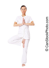beau, exercices, girl, yoga
