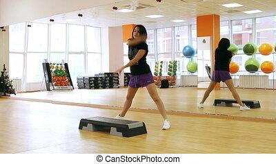 beau, exercise., étape, planche, femme, pendant