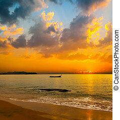 beau, exotique, coucher soleil, sur, les, mer