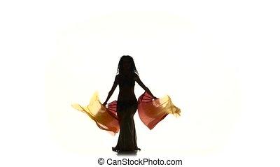 beau, exotique, elle, hanches, mince, deux, long, silhouette, ventilateurs, danseur, ventre, blanc, ombre, secousse
