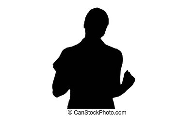 beau, expliquer, silhouette, portables, quelque chose, appareil-photo., prof