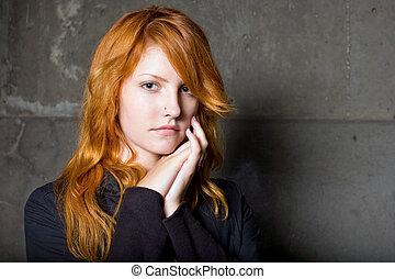 beau, expression., mode, jeune, triste, facial, roux, portrait, girl, morose