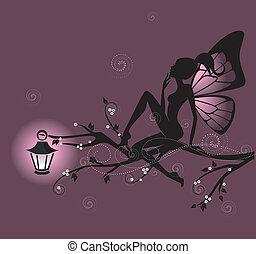 beau, fée, silhouette