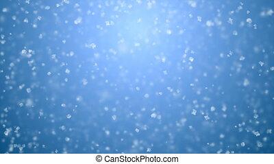 beau, fait boucle, animation., cg, chute neige, doux, bleu, gradient, concept., seamless, calme, 3840x2160, tomber, 3d, fetes, blanc, hd, célébration, flocons neige, dof, blur., 4k, ultra