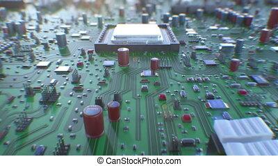beau, fait boucle, carte mère, sur, moderne, informatique, close-up., technologie, 3840x2160., processeurs, concept., voler, animation, planche, numérique, 3d, hd, dof, blur., 4k, circuit, ultra, unité centrale traitement