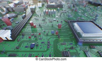 beau, fait boucle, carte mère, sur, moderne, informatique, close-up., technologie, 3840x2160., processeurs, concept., animation, planche, numérique, 3d, vol, hd, dof, blur., 4k, circuit, ultra, unité centrale traitement