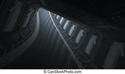 beau, fait boucle, cg., résumé, par, technologie, concept., seamless, jeûne, 3840x2160, vaisseau spatial, 3d, vol, en mouvement, hd, interminable, animation., tunnel., tunnel, 4k, ultra, futuriste