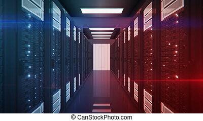 beau, fait boucle, cyber, informatique, par, bleu, information, concept., animation, 3840x2160, guerre, rouges, 3d, center., lights., en mouvement, confrontation, données, etagères, hd, salle, serveur, 4k, scintiller, ultra