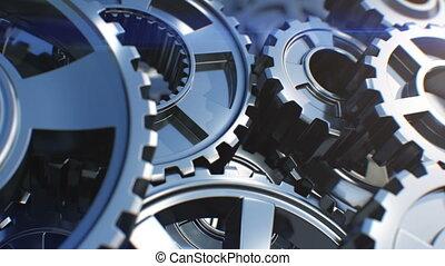 beau, fait boucle, dof, animation., tourner, technologie, 3840x2160., fonctionnement, concept., mécanisme, collaboration, barbouillage, résumé, engrenages, uhd, business, process., flares., gros plan, métal, 4k, 3d