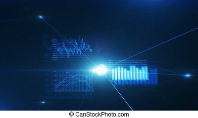 beau, fait boucle, global, graphiques, technologie, 3840x2160., bleu, réseau, concept., connections., 3d, vol, business, flares., creux, données, animation, hd, 4k, croissant, eclats, ultra