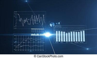 beau, fait boucle, résumé, global, connections., technologie, 3840x2160., bleu, réseau, concept., animation, 3d, points, vol, business, flares., lignes, données, hd, intérieur, 4k, croissant, ultra