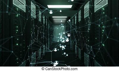 beau, fait boucle, résumé, humain, technologie, 3840x2160., étagères., réseau, icônes, média, concept., animation, numérique, 3d, en mouvement, hd, salle, dof, serveur, blur., 4k, social, ultra, futuriste