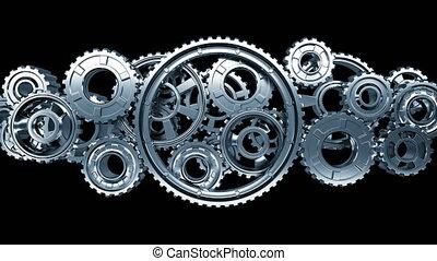 beau, fait boucle, résumé, mechanism., technologie, 3840x2160., fonctionnement, concept., matte., animation, collaboration, 3d, tourner, business, grand, process., alpha, hd, engrenages, métal, 4k, ultra