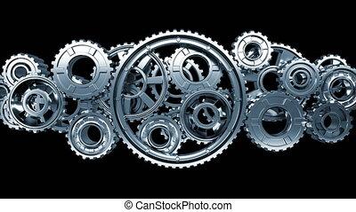 beau, fait boucle, résumé, seamless, mechanism., technologie, 3840x2160., fonctionnement, concept., matte., animation, collaboration, 4k, uhd, business, grand, process., alpha, rotation, métal, engrenages, 3d