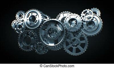 beau, fait boucle, seamless., résumé, technologie, 3840x2160., fonctionnement, concept., matte., mécanisme, animation, collaboration, réflecteur, 3d, tourner, business, fond, alpha, hd, engrenages, métal, 4k, ultra, noir