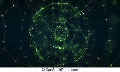 beau, fait boucle, seamless., résumé, tourner, sphère, réseau, concept., animation, 3840x2160, 3d, business, barbouillage, grille, hd, gros plan, holographic, dof, vert, 4k, croissant, ultra