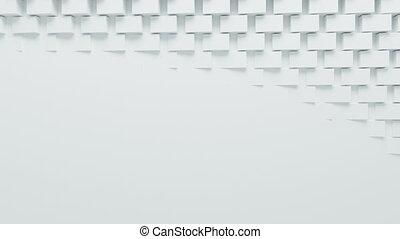 beau, fait boucle, tourner, hd, écran, process., boîtes, mouvement, arrière-plan., engendré, informatique, conception, 4k, 3d, blanc, ultra, résumé, 3840x2160., animation.