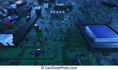 beau, fait boucle, vol, dof., carte mère, sur, unité centrale traitement, ultra, processors., animation, planche, circuit, numérique, 4k, technologie, concept., hd, 3d