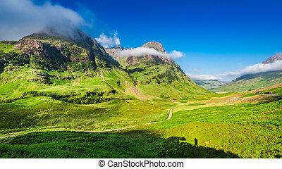 beau, falaise, ecosse, glencoe, petit, levers de soleil, ...