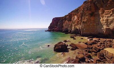 beau, falaises, portugal, algare