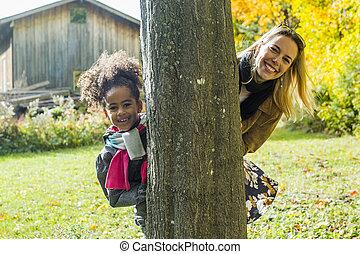 beau, famille, avoir, automne, amusement, jour, heureux