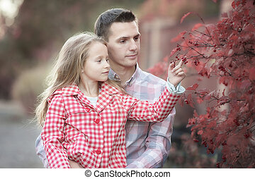 beau, famille, parc, automne, happyy, jour chaud, heureux