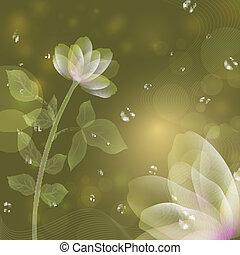 beau, fantasme, fleur, vert, arrière-plan.
