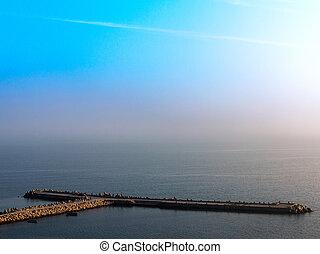 beau, fantastique, marine, image, cent, ligne, coucher soleil, horizon, modèle, grain, 100, spectacles, disappears, fog., gentil