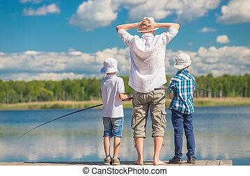 beau, favori, hommes, -, pêche lac, pays, passe-temps