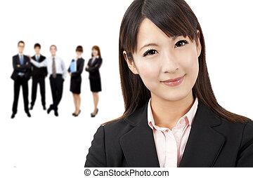 beau, femme affaires, affaires asiatiques, équipe