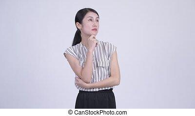 beau, femme affaires, asiatique, pensée