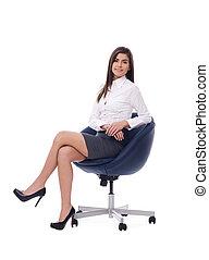 beau, femme affaires, chaise, séance