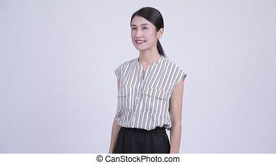 beau, femme affaires, heureux, asiatique, pensée