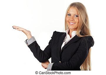 beau, femme affaires, isolé, main, fond, blanc, ouvert