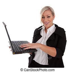 beau, femme affaires, ordinateur portable, usages, internet