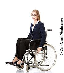 beau, femme affaires, séance, sur, wheelchair.