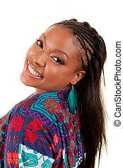 beau, femme américaine, sourire, africaine