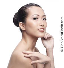 beau, femme asiatique, doucement, toucher, elle, face.
