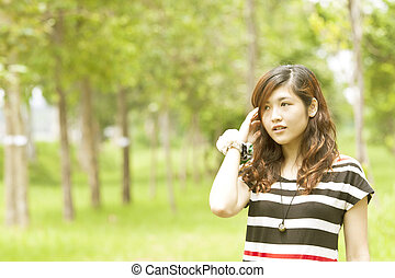 beau, femme asiatique