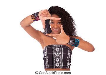 beau, femme, bouclé, cheveux, Américain, africaine, confection, cadre, geste