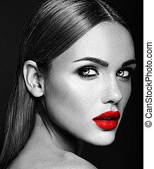 beau, femme, couleur,  Photo, Maquillage, Quotidiennement, figure, charme, sain, lèvres, frais, noir, rouges, propre, peau,  portrait, blanc, dame, modèle, sensuelles