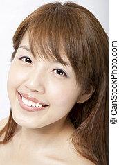 beau, femme, figure, asiatique, propre, peau, frais, sourire