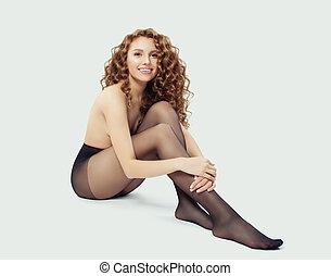 beau, femme, girl, séance, collants, arrière-plan noir, blanc, modèle