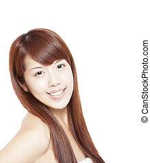 beau, femme, haut, figure, asiatique, fin, portrait