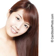 beau, femme, haut, figure, cheveux, asiatique, fin, portrait